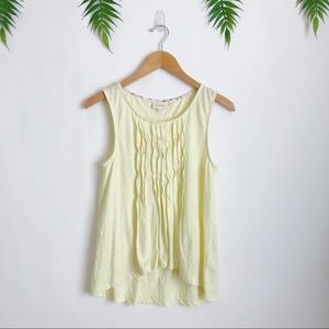 Deletta Anthro • Yellow Twisted Pleats Tank Top